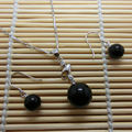 Silver Jewelry Sets 100% Real Solid 925 Sterling Silver  With 10mm Black Agate Bead Stone YH014