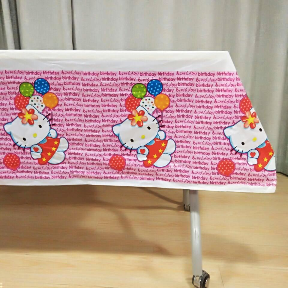 108cm*180cm Hello Kitty Baby Birthday Party Decoration Disposal Cartoon Theme Party Table Cloth Kids Favor Party Supplies Set