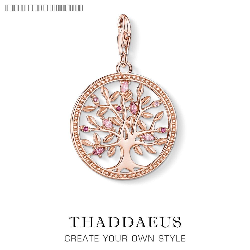 Árvore de amor rosa encantos pingente thomas jóias achados acessórios 925 prata esterlina moda jóias ts presente para mulher menina