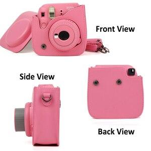 Image 3 - Per Fujifilm Instax Mini 8 Mini 9 Macchina Fotografica DELLUNITÀ di elaborazione di Cuoio del Sacchetto di Colore Instax Mini caso con Cinghia di Spalla Trasparente di Cristallo copertura