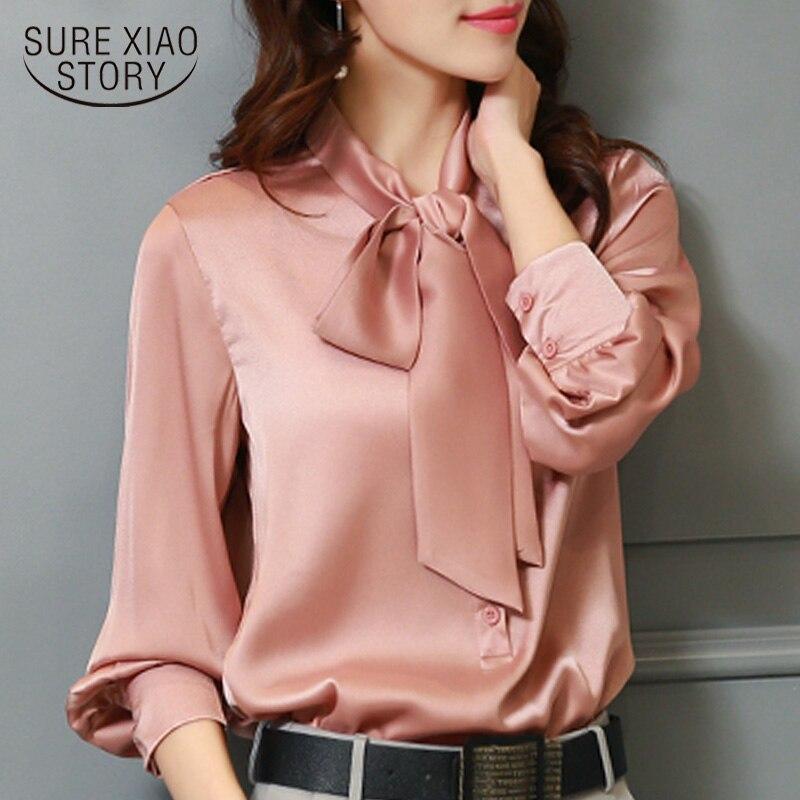 Fashion Woman Blouses 2019 Long Sleeve Bow Collar Office Ladies Blouse Plsu Size Women Tops Chiffon Blouse Women Shirts 2198 50