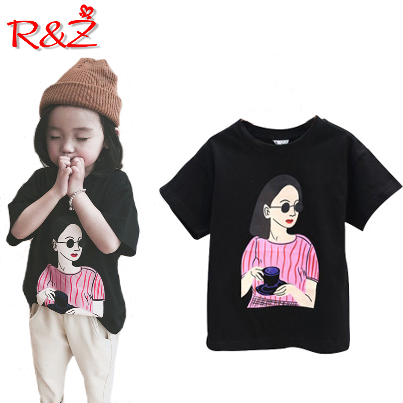 Children's T-Shirt Print Girls Short-Sleeved Summer Cartoon New Z Wild Sunglasses Sunglasses