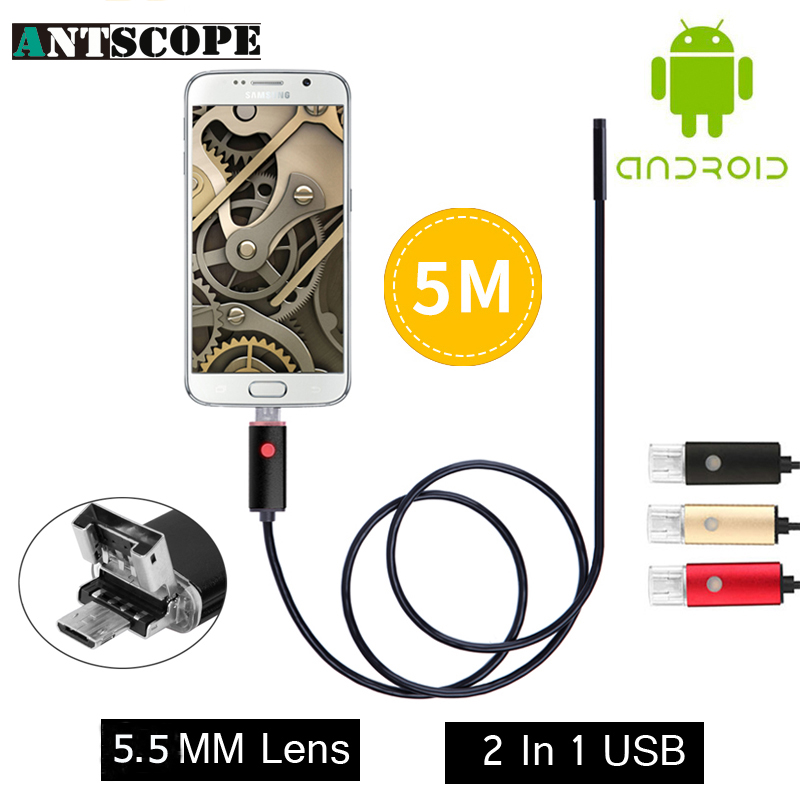 2017 New Endoscope 5.5mm Pinhole Snake Tube Borescope Camera Inspection USB Android Endoskop 2IN1 OTG Endoscope Android Phone PC gakaki 7mm lens usb endoscope borescope android camera 2m waterproof inspection snake tube for android phone borescope camera