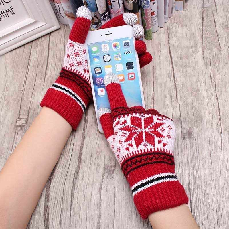 Guantes gruesos de invierno calientes populares de lana tejidos para mujer guantes de invierno frío copo de nieve guantes de dedo completo Mitaine Luvas