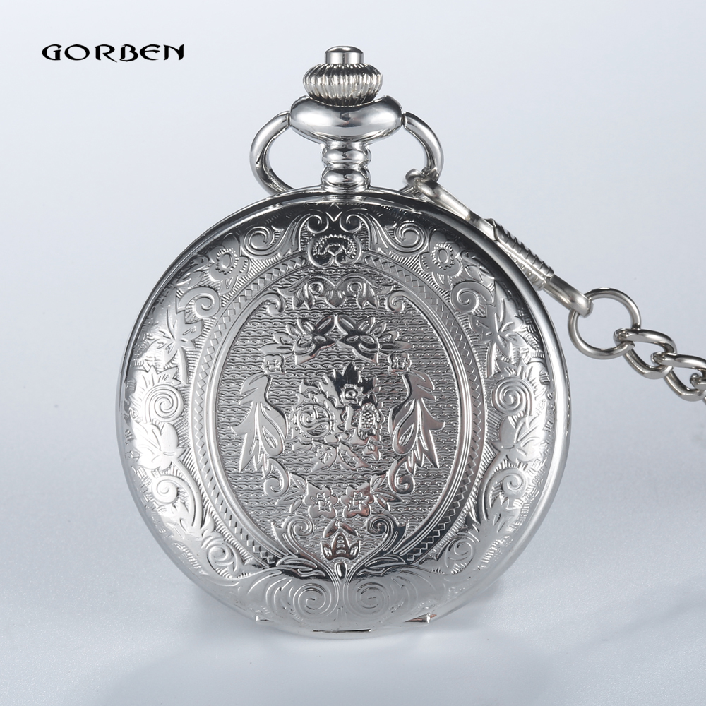 GORBEN New Silver Pocket Watch Quartz With Pendant Necklace Chain Roman Numbers Display Relogio De Bolso Gift