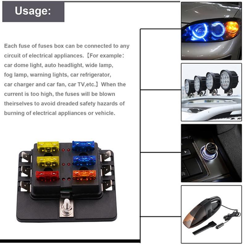 HTB13MoFanwKL1JjSZFgq6z6aVXaB aliexpress com buy 6 way 12 30v blade car fuse box holder with fuse box wiring at fashall.co