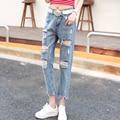2016 новые женские отверстие пят джинсы женские bf свободного покроя шаровары нищий джинсы C9225 #