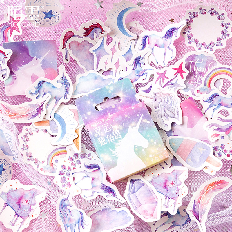 46 Pcs/Box Fantasy Starry Unicorn Animal Mini Paper Sticker Package DIY Diary Decoration Sticker Album Scrapbooking