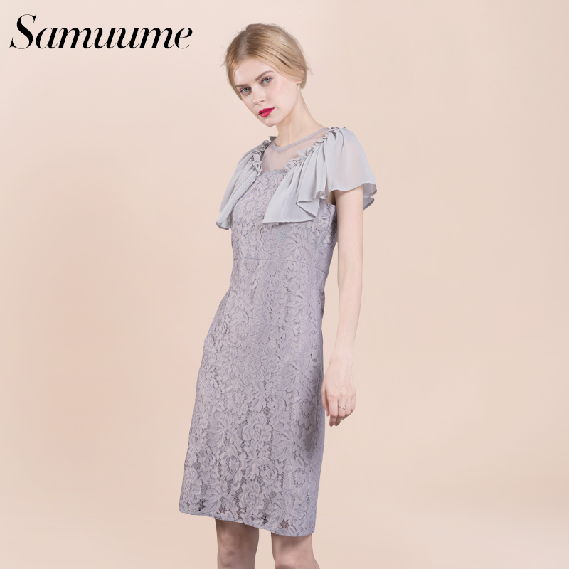 a84d398fc7d5 Samuume Elegant Solid Ruffles Lace Dress Women 2018 New Half Butterfly  Sleeve Mesh Patchwork Midi Dresses Women Vestido P1702001-in Dresses from  Women s ...