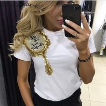 Chicanary 2017 новое лето топы мода одежда для женщин плечо блесток зеркало harajuku kawaii футболка женские футболки camisas