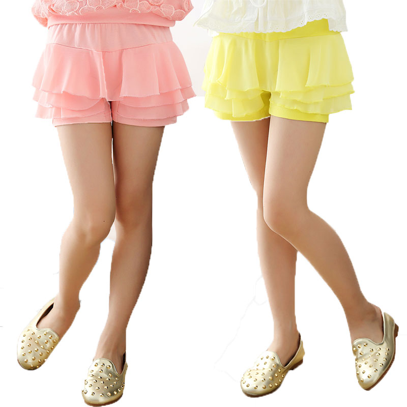 V-TREE Summer 2016 girls shorts chiffon shorts for girls candy color girls lace shorts with skirt teenager school shorts color block crop cami top with shorts