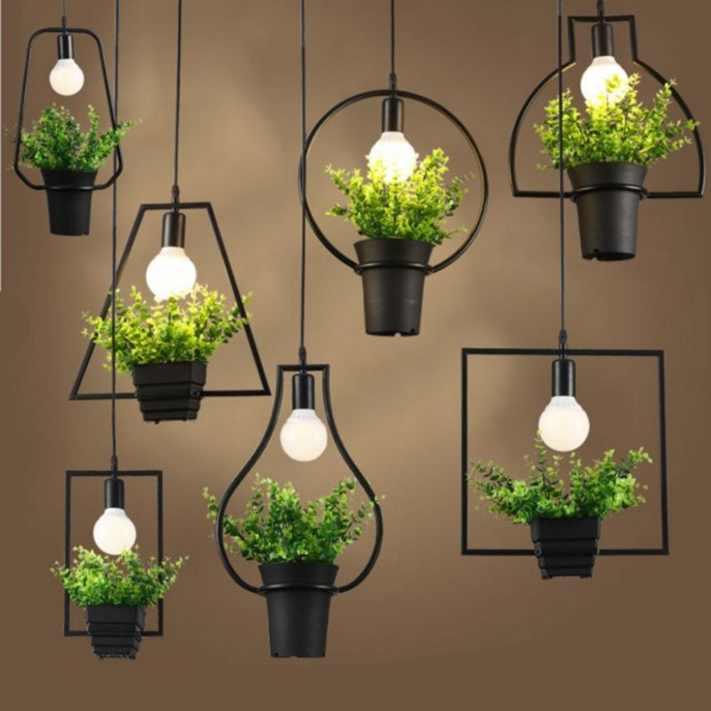 retro industrial style ceiling lamp pendant light plant flower pot light fixture for dining hall. Black Bedroom Furniture Sets. Home Design Ideas