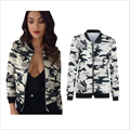 2016 Women Basic Coats Short Tops Windbreaker Camouflage Print Long Sleeved  Jacket Outwear Ladies Bomber Jacket Female Autumn