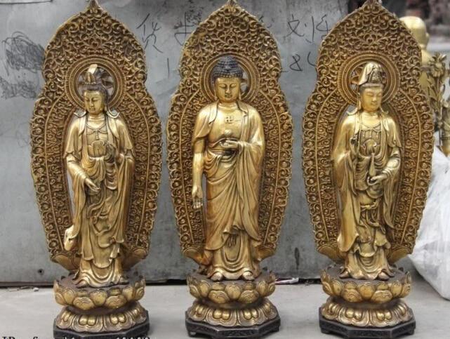 23 bouddhisme cuivre Bronze trois Saints de louest kwan-yin Guan Yin bouddha ensemble23 bouddhisme cuivre Bronze trois Saints de louest kwan-yin Guan Yin bouddha ensemble