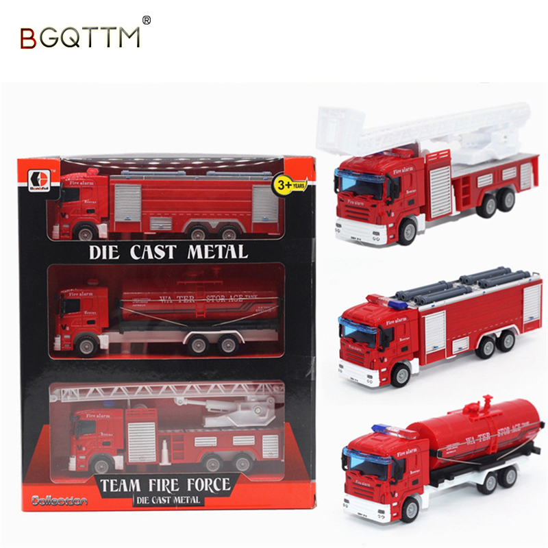 3PCS Alloy Car Truck Model Children Toys Fire Truck Engine For Baby Birthday China Gift carros de brinquedo Toys For Children