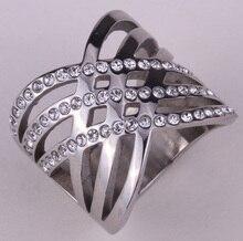 Anillo de acero inoxidable para las mujeres niñas linda de la manera de cristal austriaco joyas de oro y plata del tono al por mayor KR12