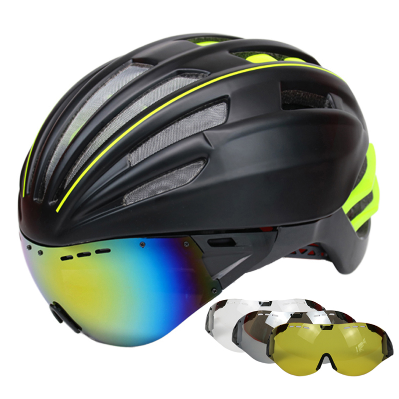 Goggles Cycling Helmet Road Mountain MTB Bicycle Helmet Casco Ciclismo Ultralight In-mold Bike Helmet With Glasses 55-61CM ftiier bicycle helmet ultralight 210g cycling helmet pc eps road mountain mtb in mold bike helmet casco ciclismo 56 62 cm