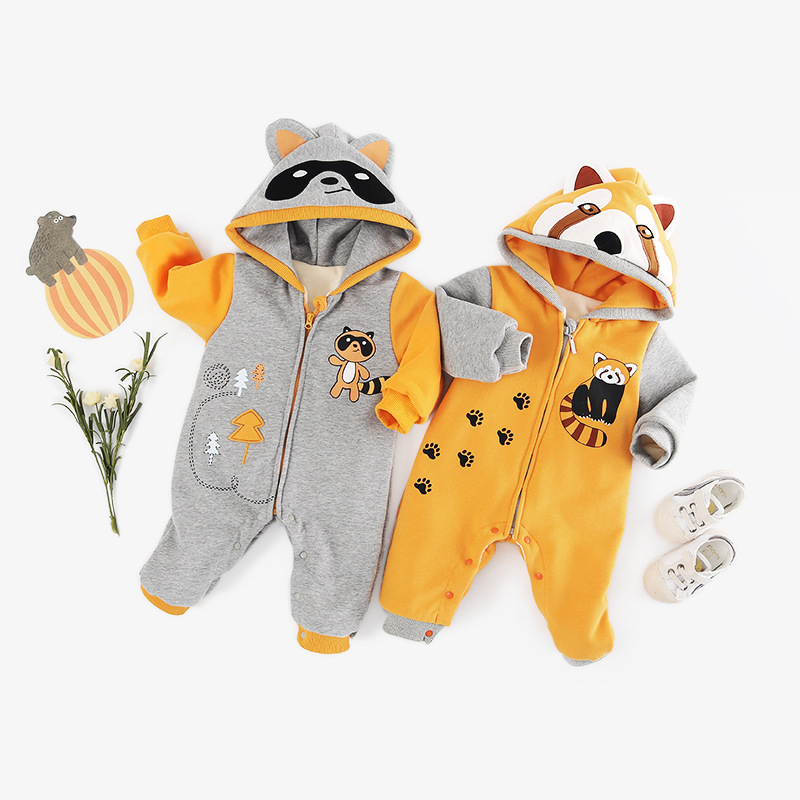 cute Raccoon Hooded Baby   Romper   Unisex Winter Thicken Baby Clothing for Newborn Overalls Lovely Girls Boys Jumpsuits