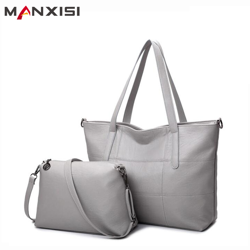 MANXISI Brand Luxury Handbags Women bag Leather Bags Casual Tote Gray Shoulder bags Solid Soft Zipper Composite Bag SET