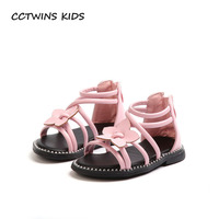 CCTWINS KIDS 2018 Summer Toddler Black Pu Leather Shoe Baby Girl Brand Barefoot Gladiator Sandal Children