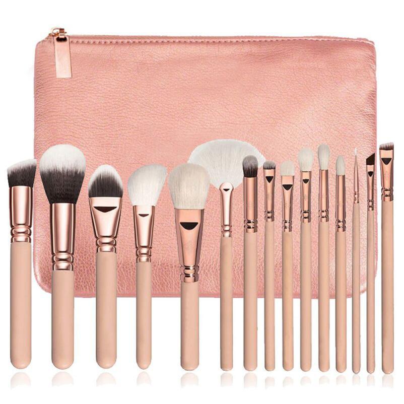Makeup Brushes 15Pcs Natural Hair Cosmetics Set With Leather Bags Wooden Handle High Quality Makeup Brush SetJU shipping