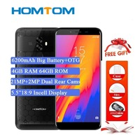 Original Homtom S99 5.5incell Hd+ 18:9 Mobile Phone Android 8.0 Mtk6750t Octa Core 4gb Ram 64gb Rom 6200mah Battery Face Id Otg