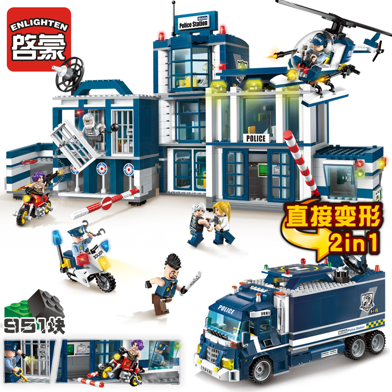 ENLIGHTEN 1918 City Police Series Mobile Police Headquarters Helicopter Motocycle Model Building Blocks minifig Kids Toys city architecture mini street scene view reims cathedral police headquarters library fire departmen building blocks sets toys