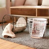 Metal Storage Basket Scandinavian Iron Desk Storage Cloth Toys Sundries Basket Laundry for Home Organizer Decor