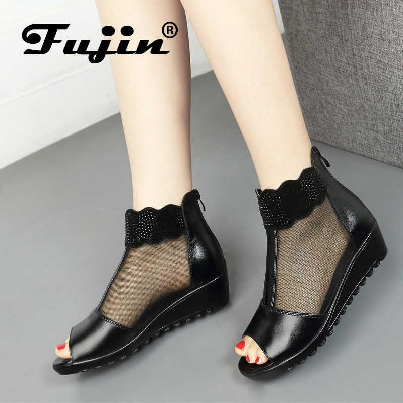 Fujin marca sandalias de cuero genuino cuña 2019 zapatos de verano botas tobillo para mujeres de malla transpirable negro plataforma femenina botines