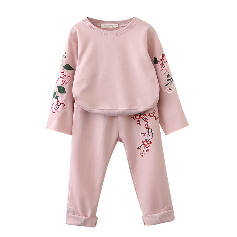 Sotida Girls Clothing Sets 2018 New Children Clothing Sets Stripes Print Kids Clothes O-neck Girl Pullover Shirt+Pants 2Pcs Suit