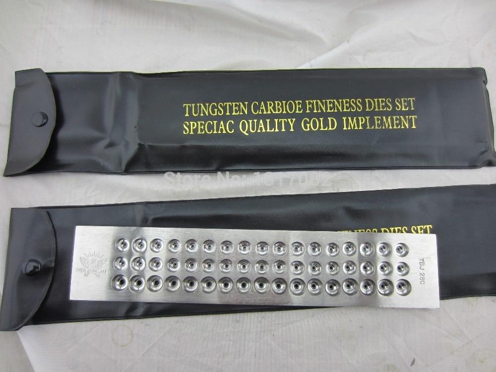 Fil d'or placage conseil Ronde carbure De Tungstène filière, trou taille 0.26-2.80mm 51 trous, en acier inoxydable fil planche à dessin