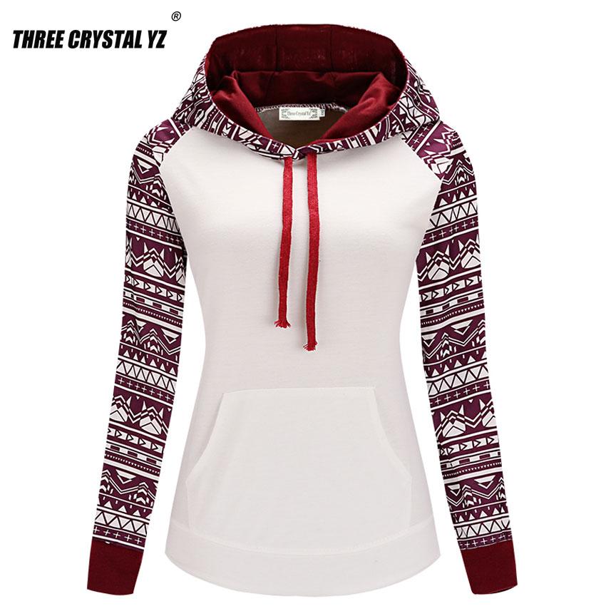 Three Crystal Yz 2017 Europe Fashion National Style Printing Pocket Long Sleeves Printed Hoodies Sweatshirts Women