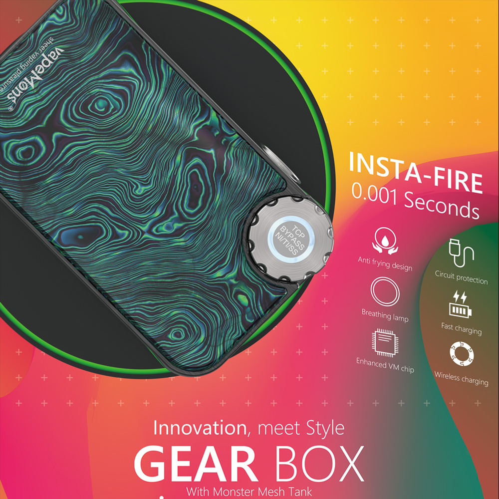 Caja Mod vapores caja de cambios 222 W TC carga inalámbrica OLED pantalla 510 rosca resina Panel 18650 batería cigarrillo electrónico Vape mod - 5