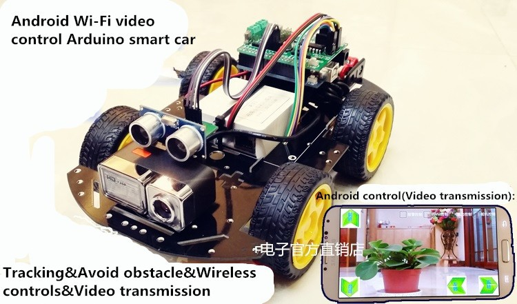 4WD Android Wi-Fi Video Monitoring Control R3 Smart Car/Provide PC Software Code Arduino Code,Android APK And Original Test Code