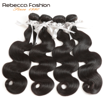 Rebecca Malaysian Body Wave 4 Bundles Deal 10 til 26 Inch Non Remy Body Wave Weave Hair Extensions Dobbelt Weft Human Hair Bundles