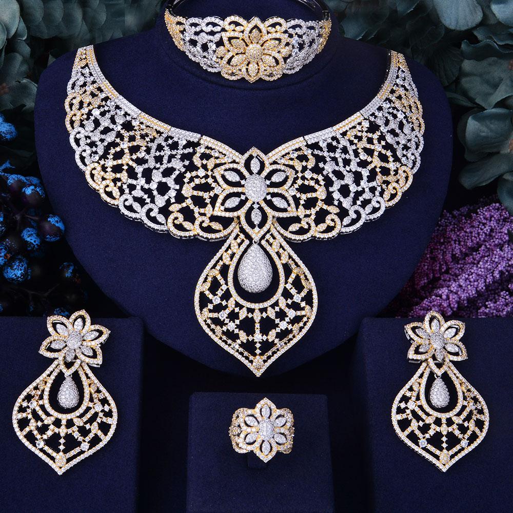 Takı ve Aksesuarları'ten Takı Setleri'de GODKI Lüks Tüy Kement Çiçek Kadınlar Düğün Kübik Zirkonya Gerdanlık Kolye Küpe dubai mücevher seti Mücevher Addict'da  Grup 1