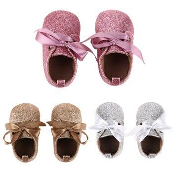 Детские первые ходоки обувь мода для маленьких девочек мягкая подошва обувь новорожденных зашнуровать блесток Дети анти тапки Prewalker