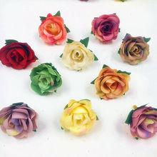 Artificial mini roses retro gradient flowers flower heads/wedding car decoration for DIY gift box collage 10 PCS (3 cm/flower)