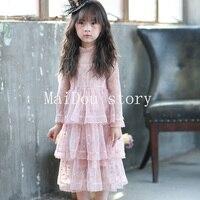 GIRLS Turtleneck Princess Dresses Long Sleeve Mesh Dot Patchwork Pink Casual Dress Kids Party And Wedding