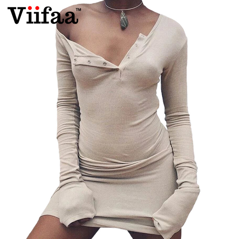 Viifaa Sexy One Shoulder Knitted Dress Women Long Sleeve Bodycon Party Dresses Autumn Pink Short Club Dress hot pink one shoulder ruched bust slit long party dress