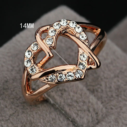 Italina Ring Party Gift For Girl Fashion Rings Rose Yellow Gold Color Lady Heart Love Ring for Women (JewelOra Ri100841)