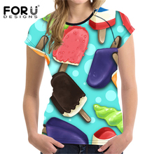 цена на FORUDESIGNS 2018 Newest T-shirt Women T Shirt Female Ice Cream T Shirts Pink Teens Girls t-shirt Mujer Blusas Tops Femme Casual