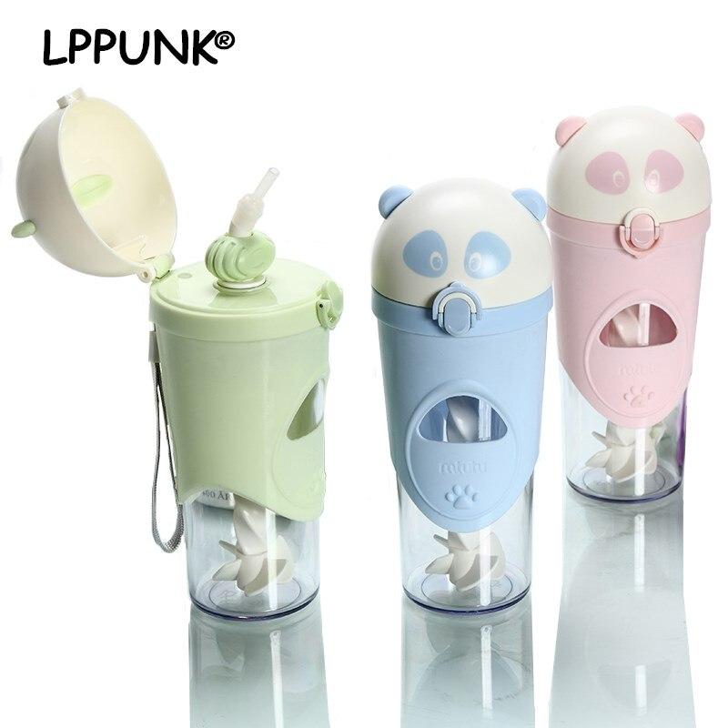 2018 new 500ml creative Panda cool kettle summer new shaker ice bottle with straw my water bottle Milkshake mix bottle