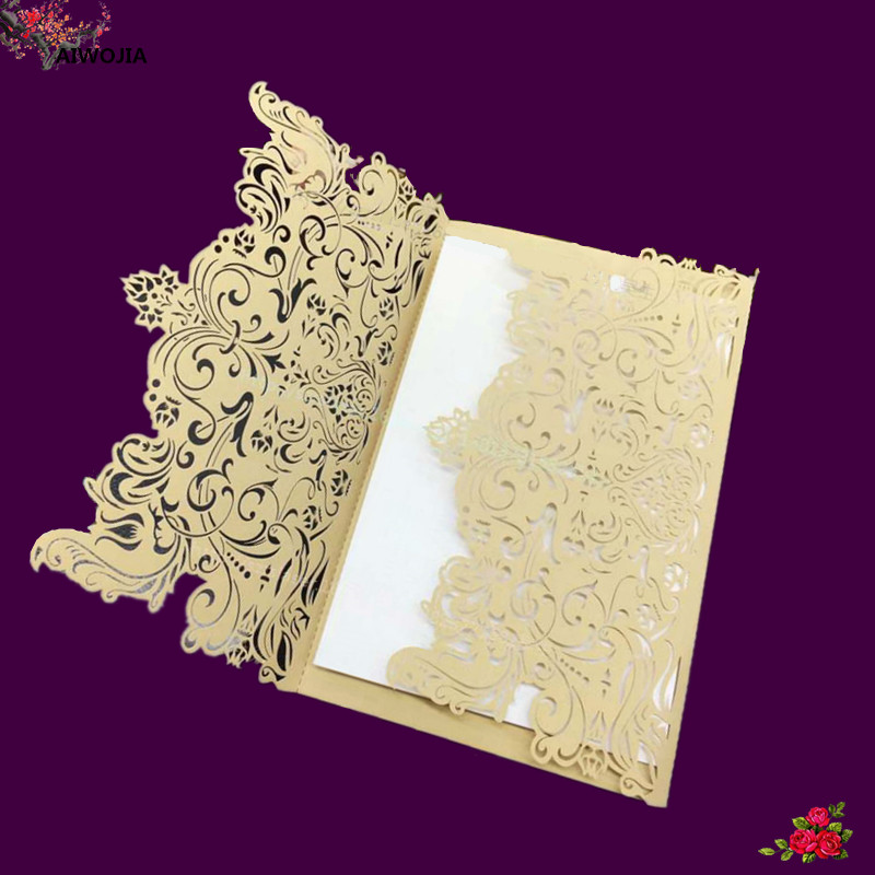 Luxury Gold Wedding Invitations Card With Rsvp And Brooch Vintage Birthday Party For