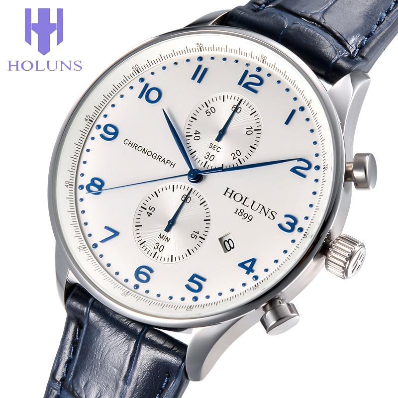 ФОТО  HOLUNS QUARTZ WATCHES men business mens watch luxury simple Waterproof Sport popular wrist Leather strap watches CLOCKS
