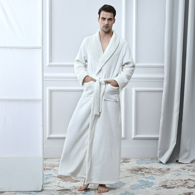 Multicolor Mens Bath Robes Thick Couple Bathrobes Solid Color Men Robes Full Length Mens Robes Flannel Mens Robes Long DaRR1624