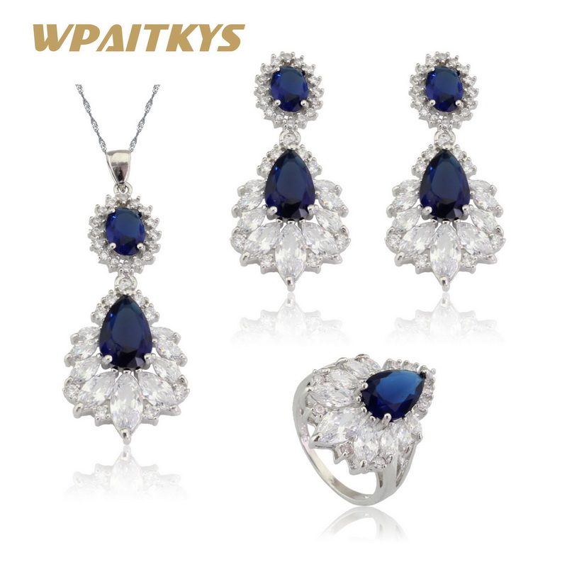 WPAITKYS Blue Stones White CZ Silver Color Jewelry Sets For Women Long Drop Earrings Necklace Pendant