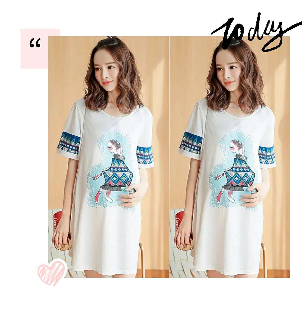 Maternity T shirt summer casual 2019 new short sleeved T shirt women 39 s mid length loose Korean version half sleeved T shirt in Tees from Mother amp Kids