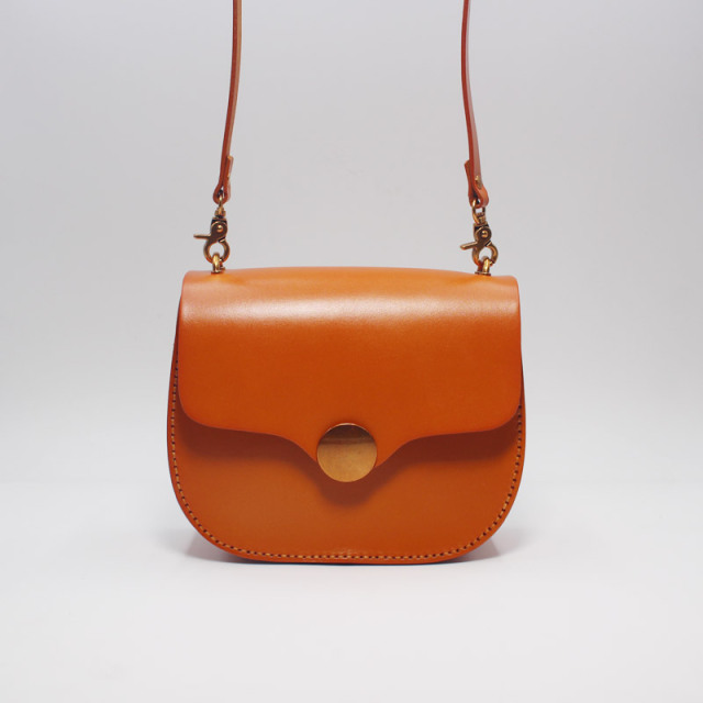 Japan Style Vintage Handmade Genuine Cow Leather Female Small Saddle Bag Lady Orange Purse Retro Women Single Cross Shoulder Bag