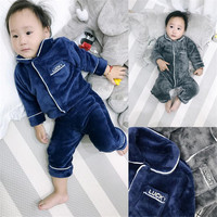 Flannel Pajamas Girls Boys Winter Warm Sleepwear Sets 6M 3Y Baby Boy Special Fashion High Quality